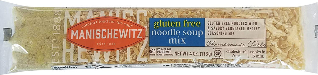 Manischewitz Gluten Free Noodle Soup Mix (4 Pack) With Savory Home Style Vegetable Medley Seasoning,Cello Soup, Kosher for Passover, Ready in 15 Min.