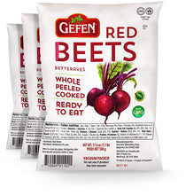 "Load image into Gallery viewer, Gefen ""Red Beets"" Whole, Peeled, Cooked, Ready to Eat, Vacuum Packed (3 x 17.6oz Bags)"