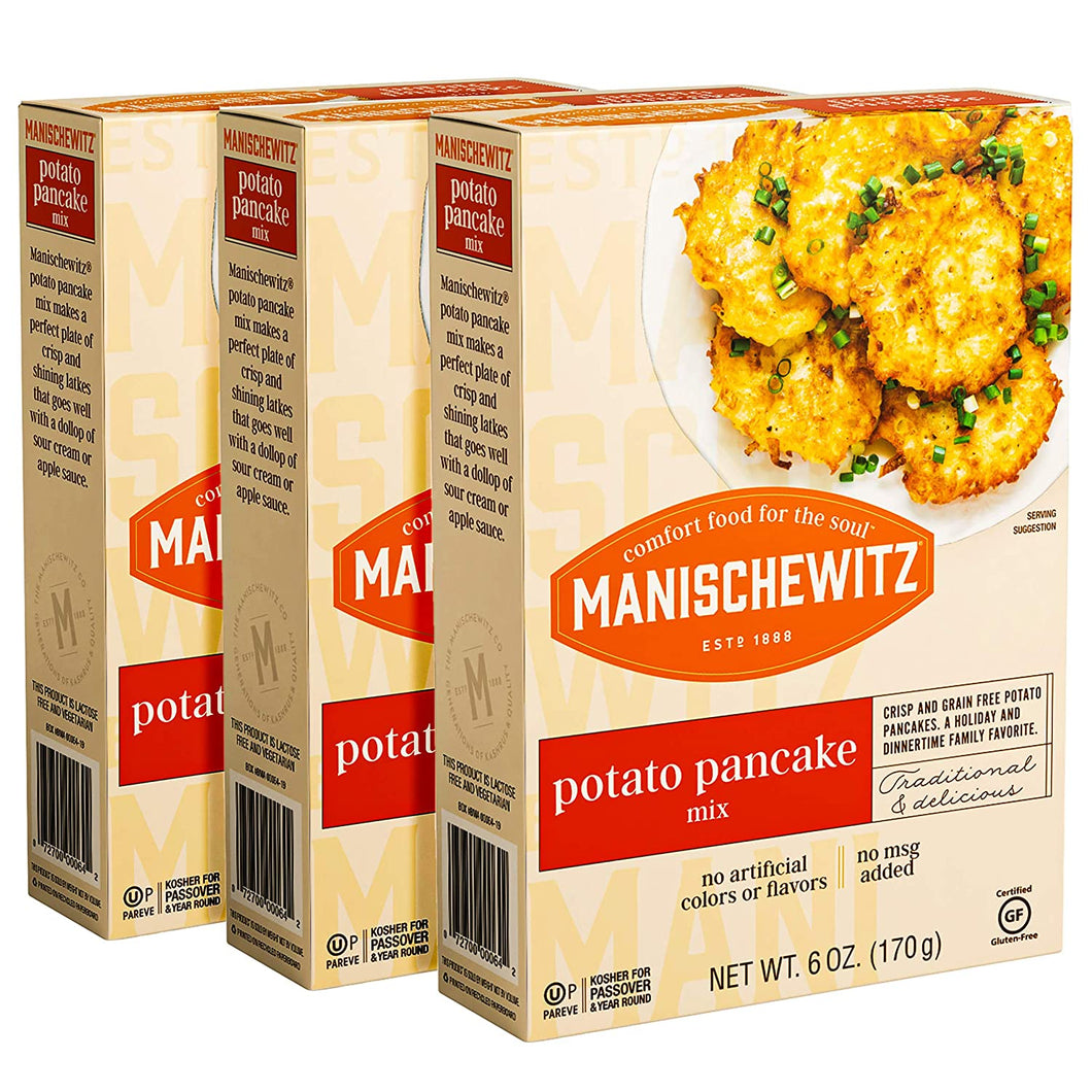 Manischewitz Potato Pancake Mix 6oz (3 Pack) Gluten Free, No MSG, Traditional Style Potato Latke Mix