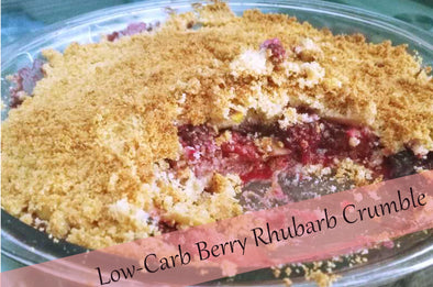 low carb berry rhubarb crumble