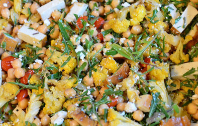 cauliflower, chickpea and arugula salad