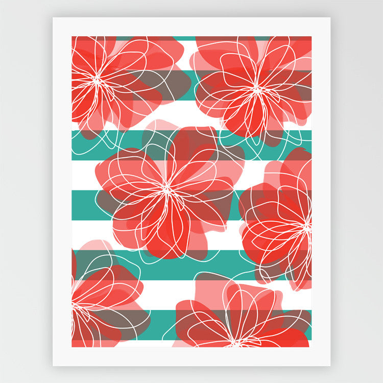 Camelia - Coral + Turquoise