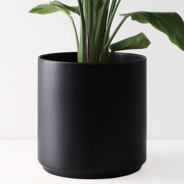 Peach and Pebble Modern Black Ceramic Cylinder Planters - Multiple Sizes