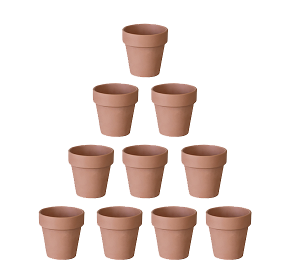 "4"" Terracotta clay pots in bulk for succulent, cacti, and indoor plants."