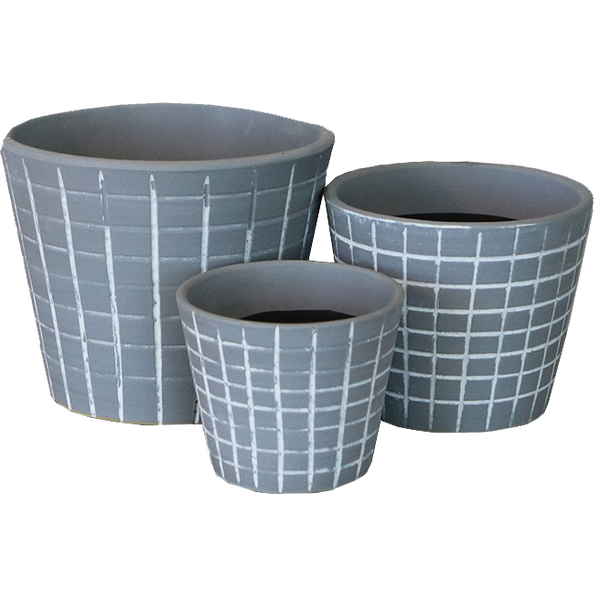Unique handmade checkered styled indoor ceramic planter set with stands.
