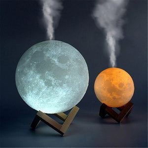 Open image in slideshow, Moon LED Lamp Air Humidifier & Essential Oil Diffuser