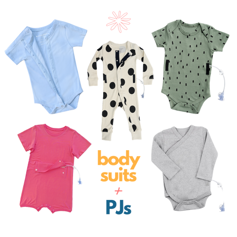 Various sizes and styles of infant onsies