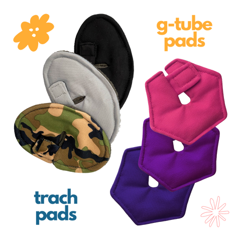 Black, grey, and camo print trach pads and pink, purple, and plum g-tube pads