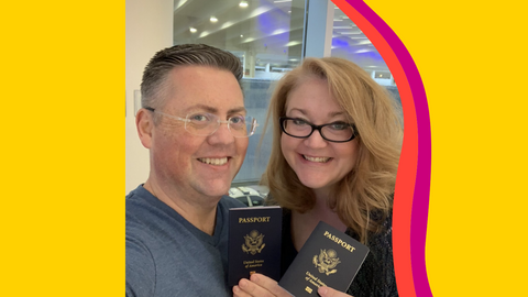 An image of man and a woman holding passports on a yellow background