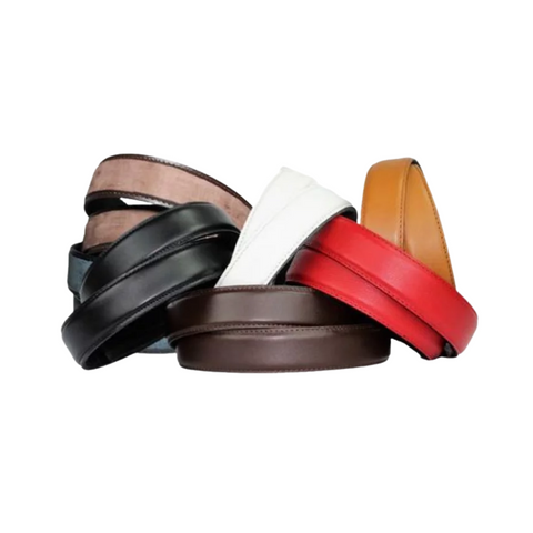 An assortment of leather belts