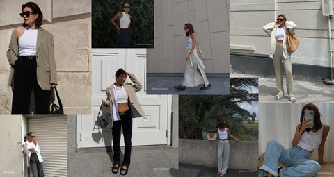 THE GEOM how to style white tank tops