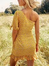 Load image into Gallery viewer, Floral Short Dress yellow back