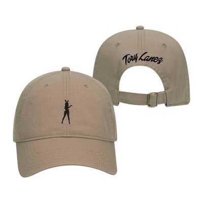 Dark khaki unstructured dad hat with silhouette of woman with bunny ears embroidered on front center and the name Tory Lanez embroidered on the back