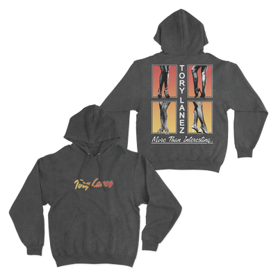 "Vintage black hoodie with ""Tory Lanez"" in a yellow to red gradient print on the front. On the back are 4 boxes with photos of women's legs."