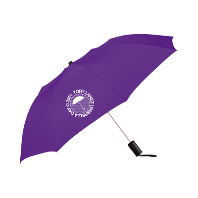 "Tory Lanez purple umbrella with ""Umbrella Day"" logo printed in white on one panel"