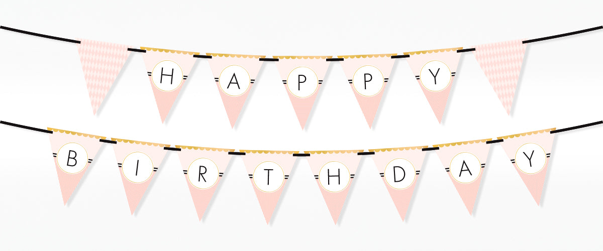 Editable Printable Classy Peach Bunting Banner Kinderama for Your Party or Baby Shower