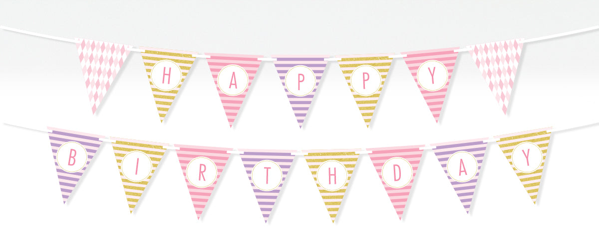 Editable Printable Glamour Glitter Bunting Banner Kinderama for Your Party or Baby Shower