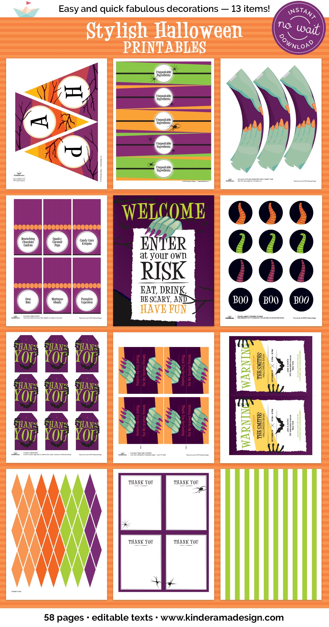 Printable Halloween Party Collection by Kinderama