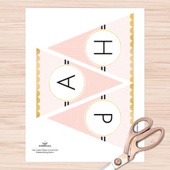 Classy Peach Bunting Banner