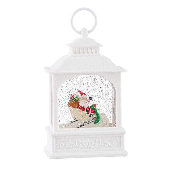 SANTA IN SLEIGH LIGHTED WATER LANTERN