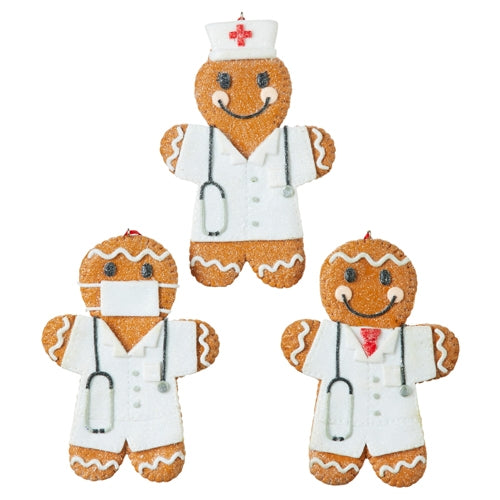 NURSE AND DOCTOR GINGERBREAD ORNAMENTS -  Christmas Club Store