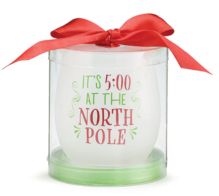 IT'S 5:00 NORTH POLE STEMLESS WINE GLASSES -  Christmas Club Store