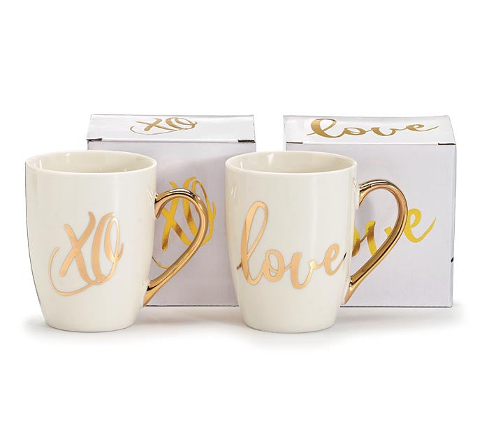 METALLIC GOLD LOVE AND XO ASSORTED MUGS -  Christmas Club Store