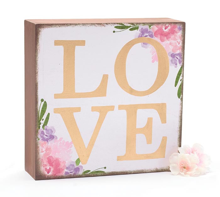 FLORAL LOVE WOODEN BLOCK -  Christmas Club Store