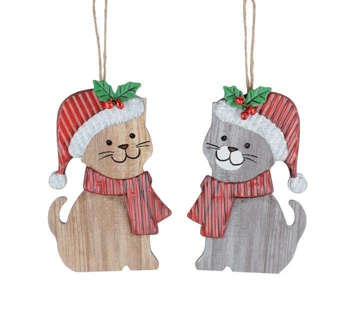 WOOD CAT ASSORTED ORNAMENTS WITH TIN HAT