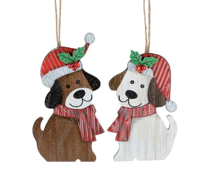 WOOD DOG ORNAMENTS WITH TIN HAT