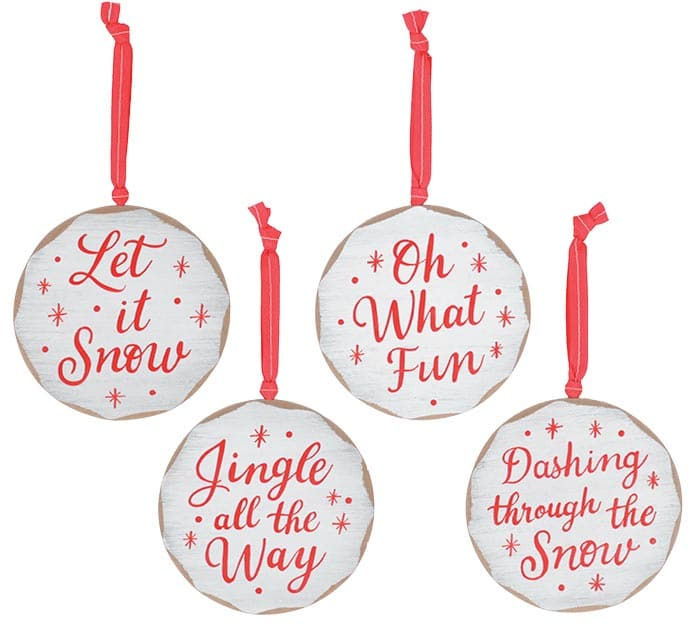RED AND WHITE WOOD DISC ORNAMENTS