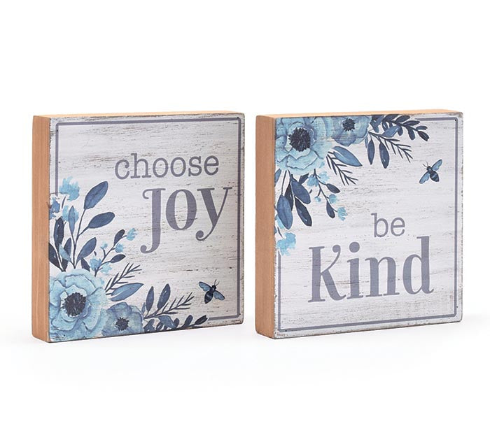 FLORAL BLUE WOOD SHELF SIGNS -  Christmas Club Store
