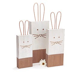 WOOD POST BUNNY SET -  Christmas Club Store