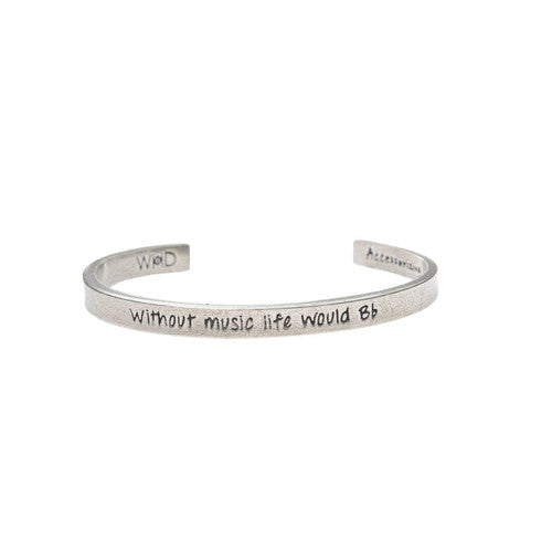 "WITHOUT MUSIC LIFE WOULD ""B FLAT"" MUSIC NOTE PEWTER CUFF BRACELET -  Christmas Club Store"