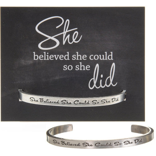 SHE BELIEVED SHE COULD PEWTER CUFF BRACELET -  Christmas Club Store