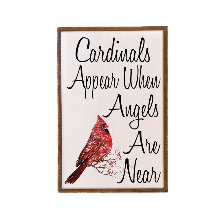 12x18 Cardinals Appear when Angels Are Near Wall Sign -  Christmas Club Store