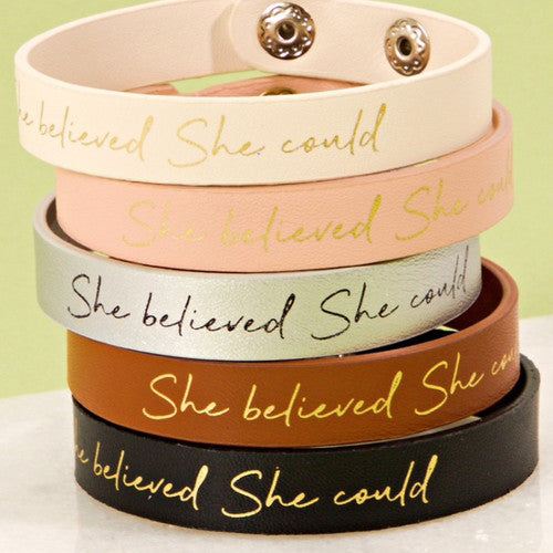 She Believed She Could Bracelet -  Christmas Club Store
