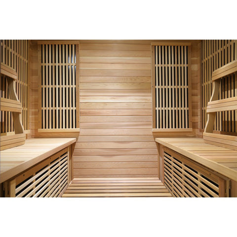 Image of SunRay Roslyn 4 Person Cedar Sauna w/Carbon Heaters/Side Bench Seating - HL400KS