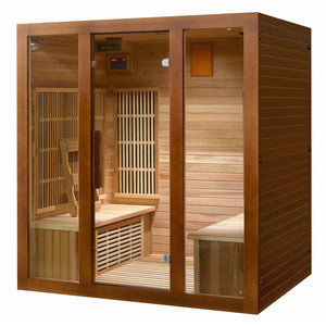 SunRay Roslyn 4 Person Cedar Sauna w/Carbon Heaters/Side Bench Seating - HL400KS