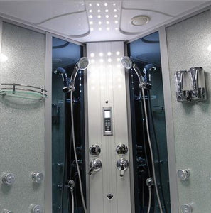 "Mesa Steam Shower Tub Combo 66""L x 66""W x 85""H - Blue Glass - WS-701A"