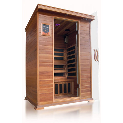 Image of SunRay Sierra 2 Person Cedar Sauna w/Carbon Heaters - HL200K