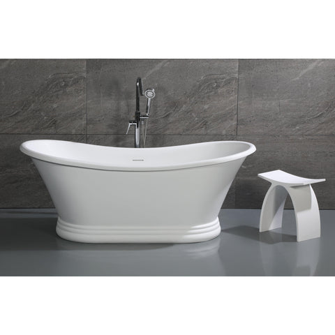 "Image of ALFI brand 67"" White Matte Pedestal Solid Surface Resin Bathtub - AB9950 - Oceanviewcity"
