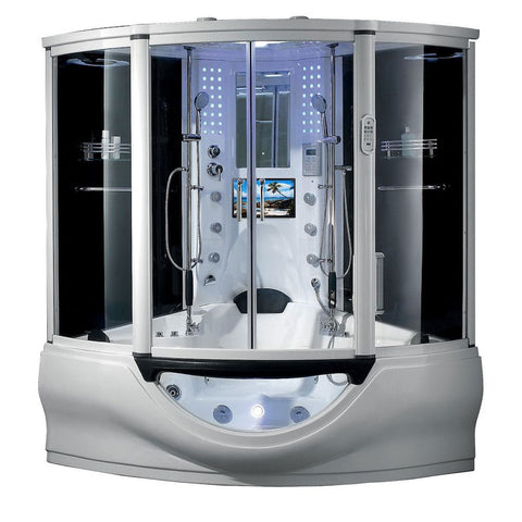 "Image of Maya Bath Superior Steam Shower Tub Combo w/ Smart TV 64"" X 64"" X 88"""