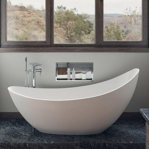 "ALFI brand 73"" White Solid Surface Smooth Resin Soaking Slipper Bathtub - AB9951 - Oceanviewcity"