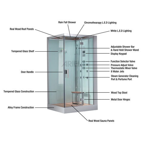 "Image of Platinum 59"" Walk In Steam Shower"