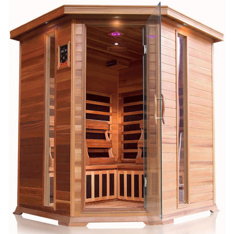 Image of SunRay Bristol Bay 4 Person Corner Cedar Sauna w/Carbon Heaters - HL400KC