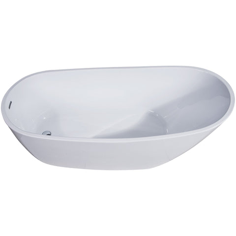 Image of ALFI brand 68 inch White Oval Acrylic Free Standing Soaking Bathtub - AB8826