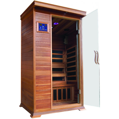 Image of SunRay Sedona 1 Person Cedar Sauna w/Carbon Heaters - HL100K