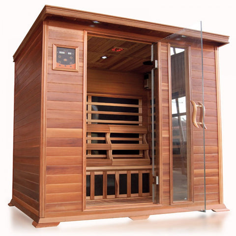 Image of SunRay Savannah 3 Person Cedar Sauna w/Carbon Heaters - HL300K