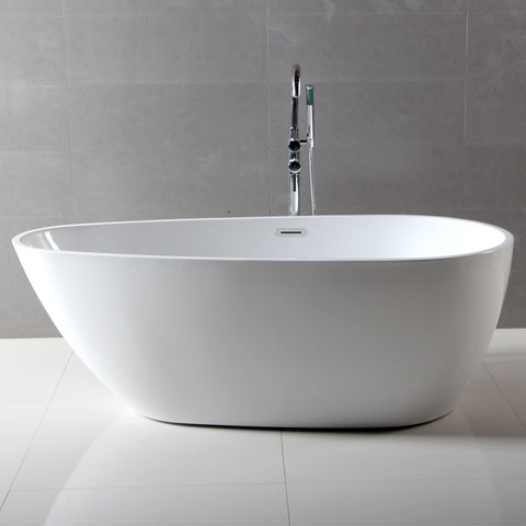 Image of ALFI brand 59 inch White Oval Acrylic Free Standing Soaking Bathtub - AB8861 - Oceanviewcity